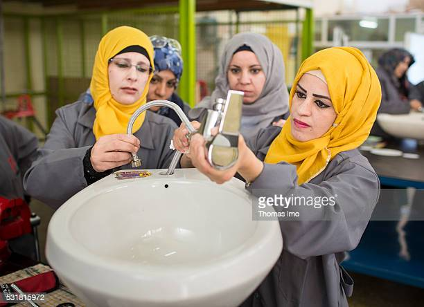 In a vocational school in the Jordanian Irbid Syrian refugees are trained as a plumber inside on April 04 2016 in Irbid Jordan