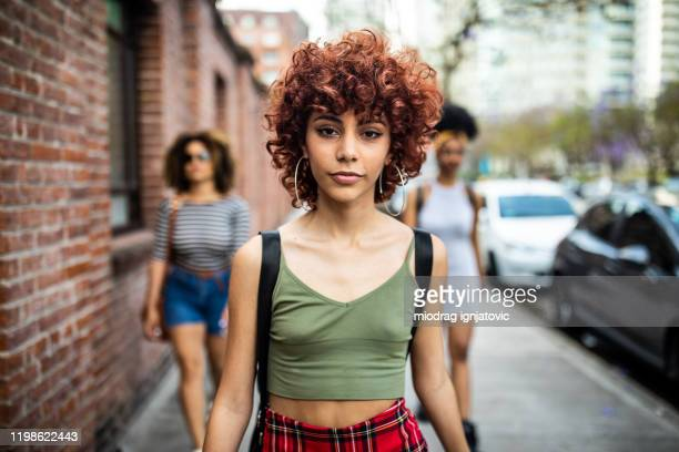 in a walk with her best friends - hipster culture stock pictures, royalty-free photos & images