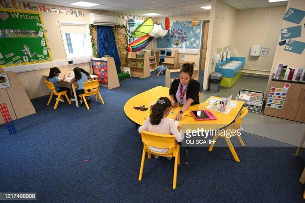 In a year 1 classroom, Hayley Walker teaches children in a teaching environment safe from Coronavirus for pupils and teachers at Brambles Primary...