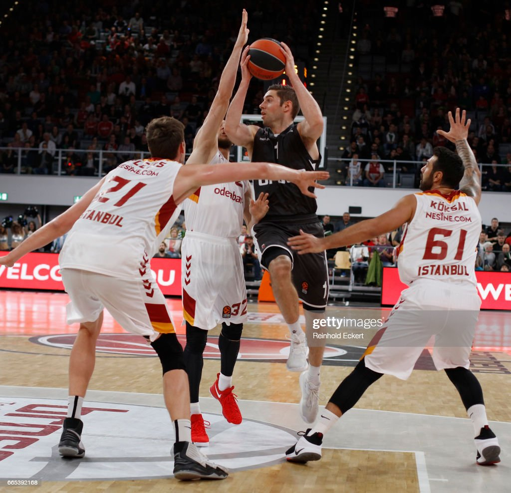 in action during the 2016/2017 Turkish Airlines EuroLeFabien Causeur, #1 of Brose Bamberg ague Regular Season Round 30 game between Brose Bamberg v Galatasaray Odeabank Istanbul at Brose Arena on April 6, 2017 in Bamberg, Germany.