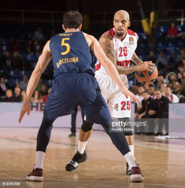 in action during the 2017/2018 Turkish Airlines EuroLeague Regular Season Round 21 game between FC Barcelona Lassa and AX Armani Exchange Olimpia...
