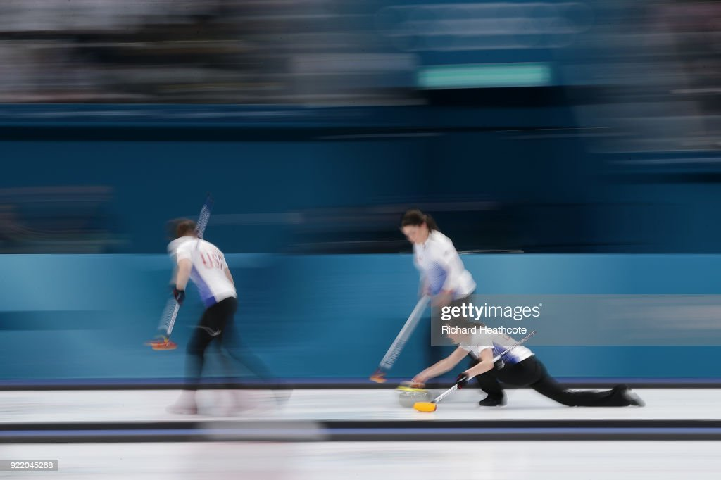 USA in action during the Women's Curling round robin matches between Sweden and USA on day 12 of the Pyeongchang 2018 Winter Olympics at Gangneung Curling Centre on February 21, 2018 in Gangneung, South Korea.