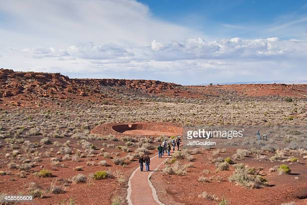 Visitors Walk to the Ball Court Near Wupatki Pueblo