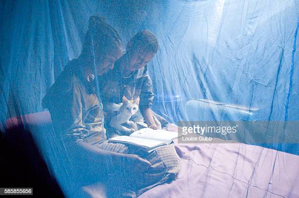 In Ambowuha, Birtukan Demissie reads to her siblings before school in the morning, as they and even the family cat, are protected with the bednet....