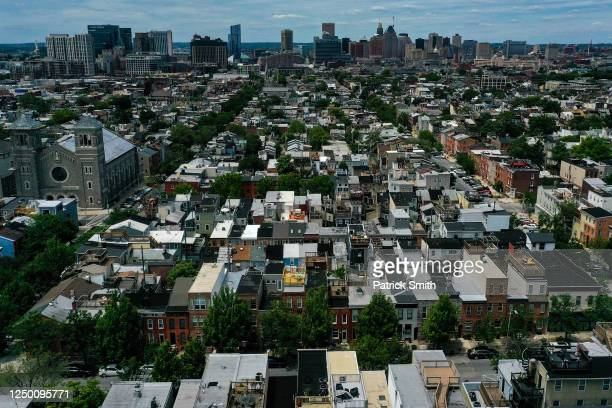 In an aerial image from a drone, a general view of Baltimore City is seen from the 300 block of South Madeira Street on June 16, 2020 in Baltimore,...
