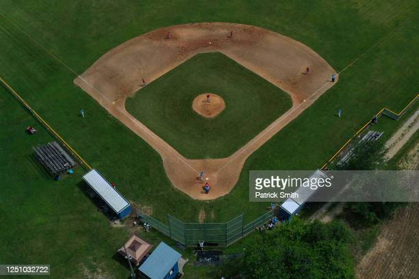 In an aerial image from a drone, the Hanover Raiders and Hagerstown Braves play in game two of a doubleheader in the South Penn Baseball League at...