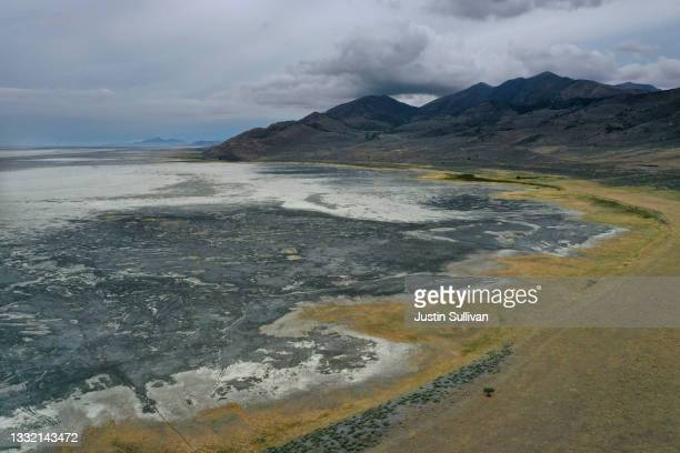 In an aerial view, an area of the Great Salt Lake that was previously underwater is now completely dry on August 02, 2021 near Corinne, Utah. As...