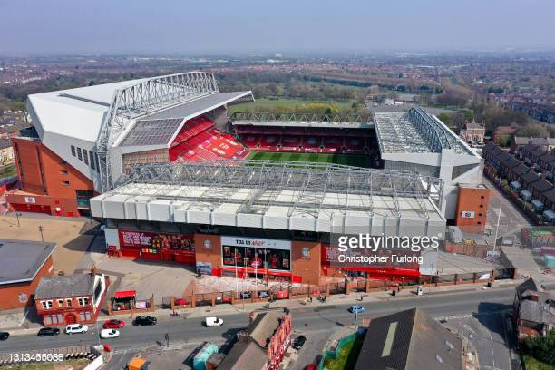 In an aerial view, banners and football scarves are seen tied to the fences around Anfield Stadium, the home of Liverpool Football Club, in protest...