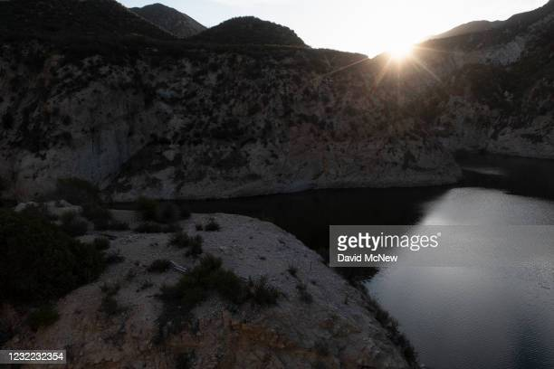 In an aerial view, Big Tujunga Reservoir, which was not filled to capacity by winter rains, is seen as another year of drought develops across the...