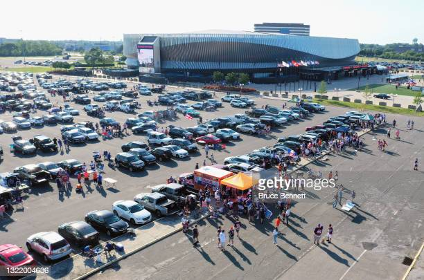 In an aerial view, fans tailgate prior to the game between the New York Islanders and the Boston Bruins in Game Four of the Second Round of the 2021...