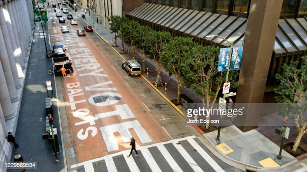In an aerial view from a drone a mural that reads Count Every Vote is seen painted on Montgomery Street on November 10 2020 in downtown San Francisco...