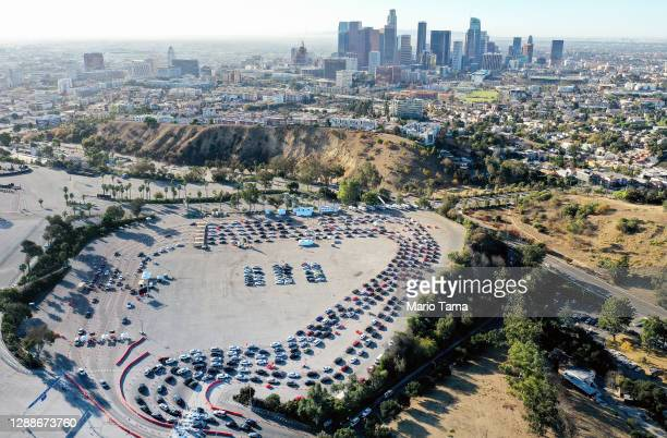 In an aerial view from a drone, cars are lined up at Dodger Stadium for COVID-19 testing on the Monday after Thanksgiving weekend on November 30,...