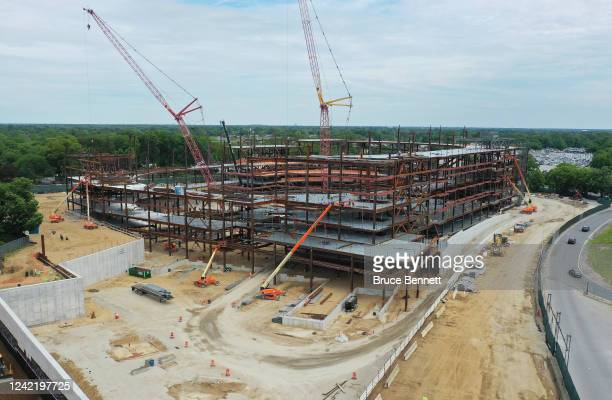 In an aerial view from a drone construction continues on the New York Islanders new arena situated next to Belmont Racetrack on June 2 2020 in Elmont...