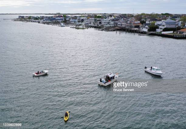 In an aerial view from a drone fisherman and recreational boaters navigate Reynold's Channel on May 18 2020 in Point Lookout New York People are...