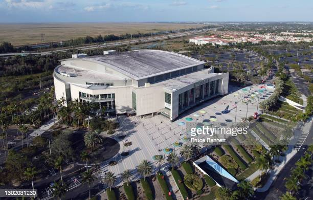 In an aerial view from a drone, the BB&T Center is ready to host the game between the Florida Panthers and the Tampa Bay Lightning on February 13,...