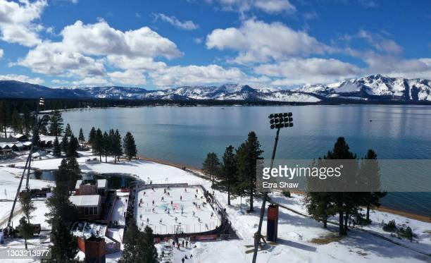 In an aerial view from a drone, the Vegas Golden Knights and the Colorado Avalanche warm-up prior to the NHL Outdoors at Lake Tahoe at the Edgewood...