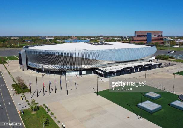 In an aerial view from a drone this is a general view of the NYCB's LIVE at Nassau Coliseum as photographed on May 13 2020 in Uniondale New York
