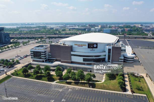 In an aerial view from a drone, this is a general view of the Wells Fargo Center on July 6, 2020 in Philadelphia, Pennsylvania.