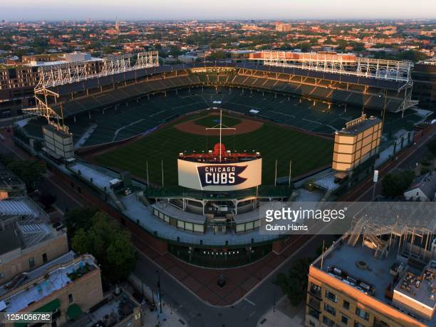 In an aerial view from a drone, Wrigley Field is seen prior to summer workouts on July 03, 2020 in Chicago, Illinois.
