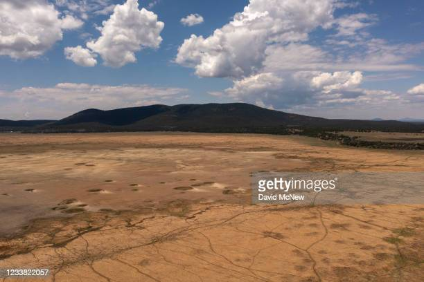 In an aerial view, Mormon Lake has dried up as the drought continues to worsen on July 5, 2021 near Flagstaff, Arizona. Large portions of the West...