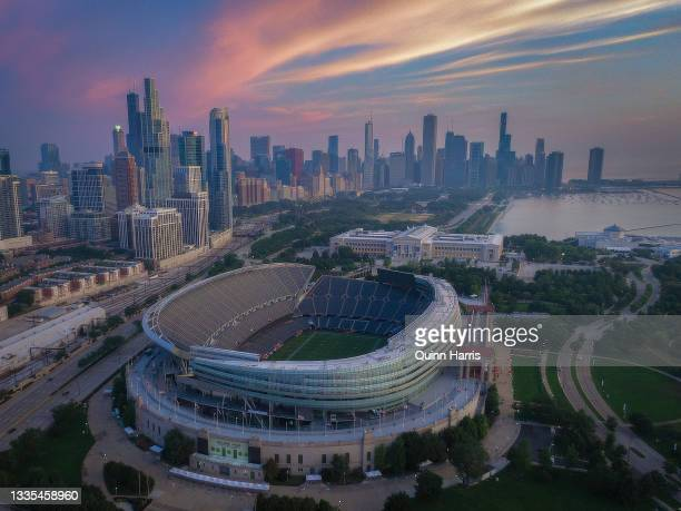 In an aerial view, Soldier Field is seen before a preseason game between the Chicago Bears and the Buffalo Bills at Soldier Field on August 21, 2021...
