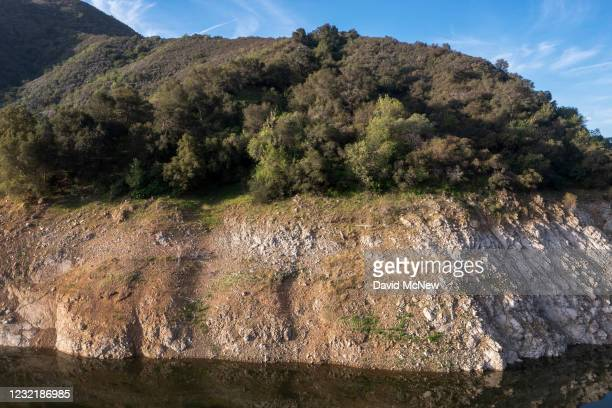 In an aerial view, the San Gabriel Reservoir, which has a low water level, is seen in the third week of spring as another year of drought develops...