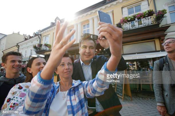 In an attempt to reenter Ukraine a media frenzy follows ahead of a press conference in Rzesow by former Georgian president Mikhail Saakashvili on...