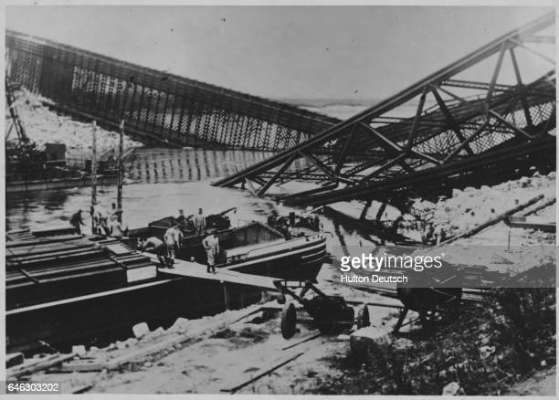In an attempt to stem the advance of the superior German forces the Poles destroyed many of their bridges in various parts of Poland Here is one over...