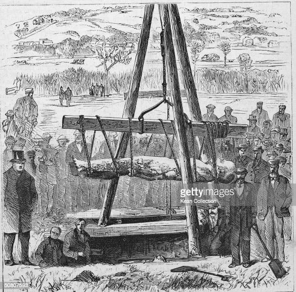 In an illustration based on a photograph by C O Gott a group of welldressed men used a tripod hoist to raise what came to be known as the Cardiff...