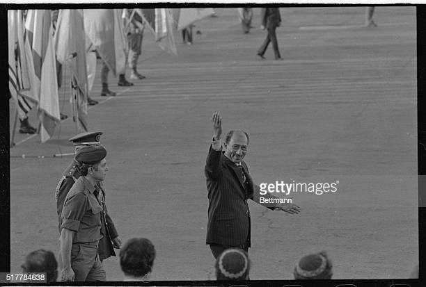 In an openarmed gesture of friendship and farewell Egyptian President Anwar Sadat says Thank you to Israelis prior to departure for Cairo here 11/21