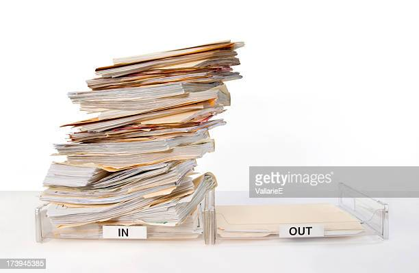 in and out boxes - inbox filing tray stock pictures, royalty-free photos & images
