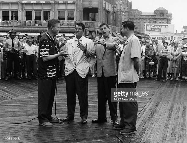 TODAY TODAY in Atlantic CIty 1954 Pictured NBC News' Jack Lescoulie actor/comedian/singer Dean Martin actor/comedian Jerry Lewis NBC News' Frank...