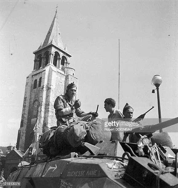 In August 1944, Before Saint-Germain-Des-Pres'S Church, Sherman Tanks Of The 2Nd Armoured Division Under General Leclerc Displaying The Resistance...