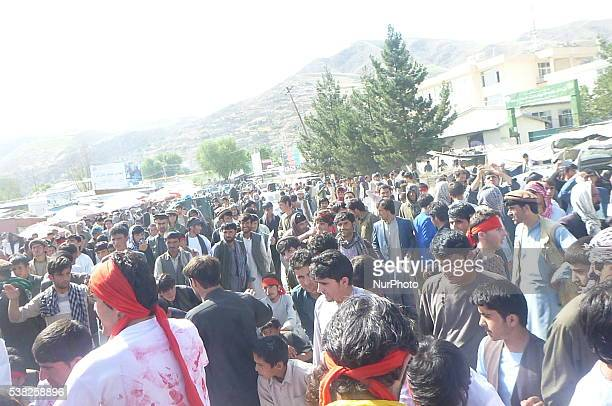 In Badakhshan province on 3 June 2016 religious leaders civil society activists youth and other people of this province march up and condemn the...