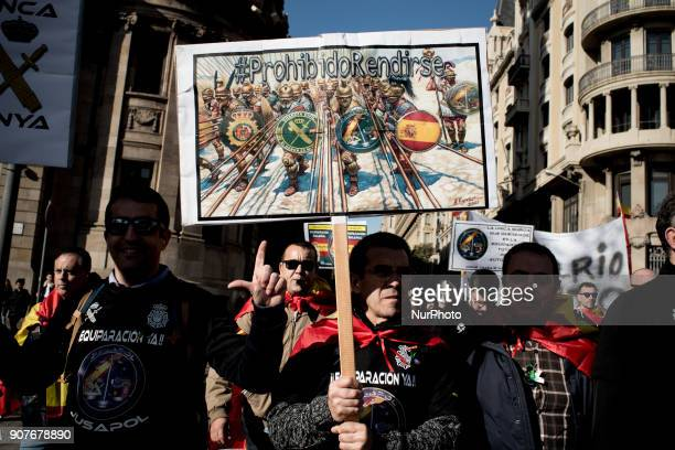 In Barcelona Catalonia Spain people march during a protest by police officers on 20 January 2018 Thousands of police called by unions of the Policia...
