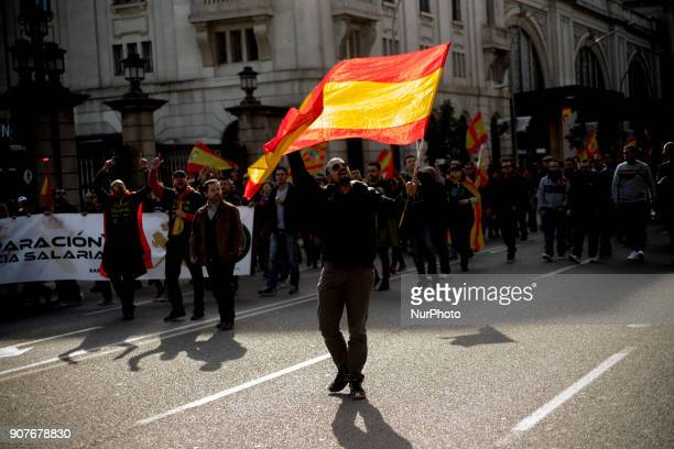 In Barcelona Catalonia Spain people wave Spanish flags during a protest by police officers on 20 January 2018 Thousands of police called by unions of...