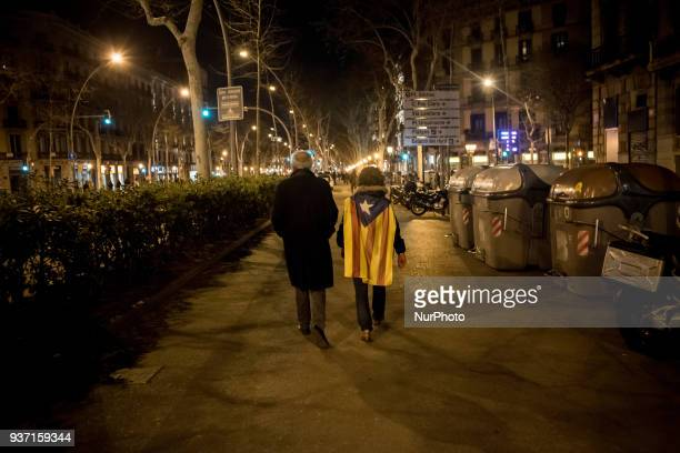 In Barcelona Spain people wrapped with esteladas or proindependence flag go on the streets to protest against Spanish justice and in support of...