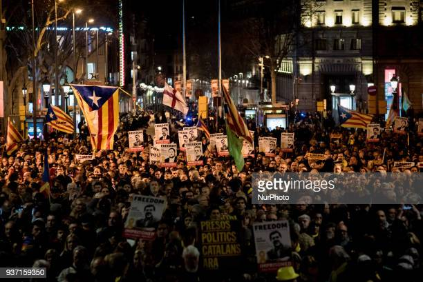 In Barcelona Spain thousands go in the streets to protest against Spanish justice and in support of jailed Catalan politicians on 23 March 2018 A...