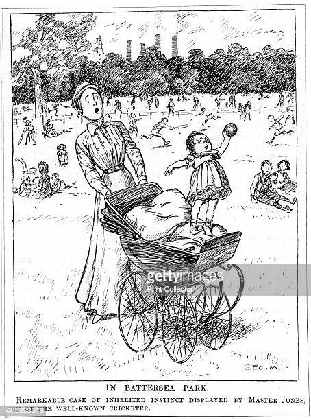 'In Battersea Park' 1911 An example of Darwinism in everday life A nursemaid wheeling Master Jones son of a famous cricketer in his pram in Battersea...
