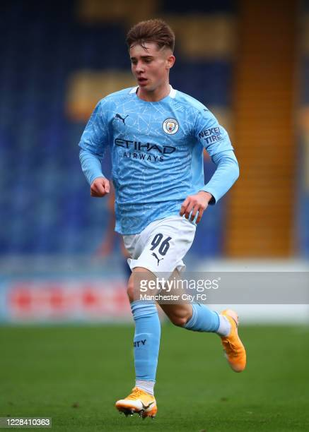 In Ben Knight of Manchester City during the EFL Trophy match between Mansfield Town and Manchester City U21 at One Call Stadium on September 8, 2020...