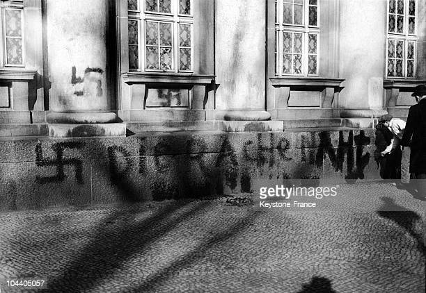 In Berlin on November 10 after the Night of Crystal the walls of this synagogue at Kottbusser Gate bore antiSemitic inscriptions and black crosses