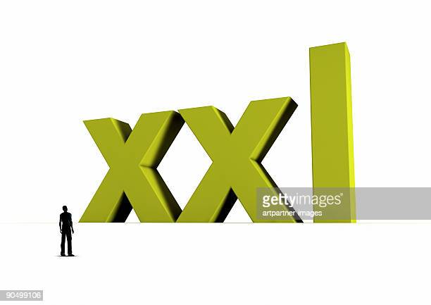 XXL in Big Green Letters with a Small Silhouette