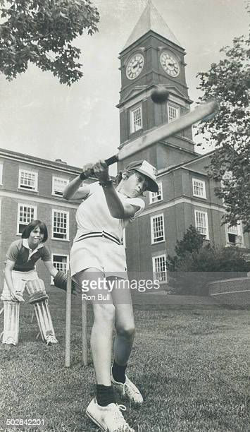 In Blue Jays cap David Robinson 11 bats with Adam Rosenfield 12 as the wicket keeper in Grade 6 cricket house league at Upper Canada College...