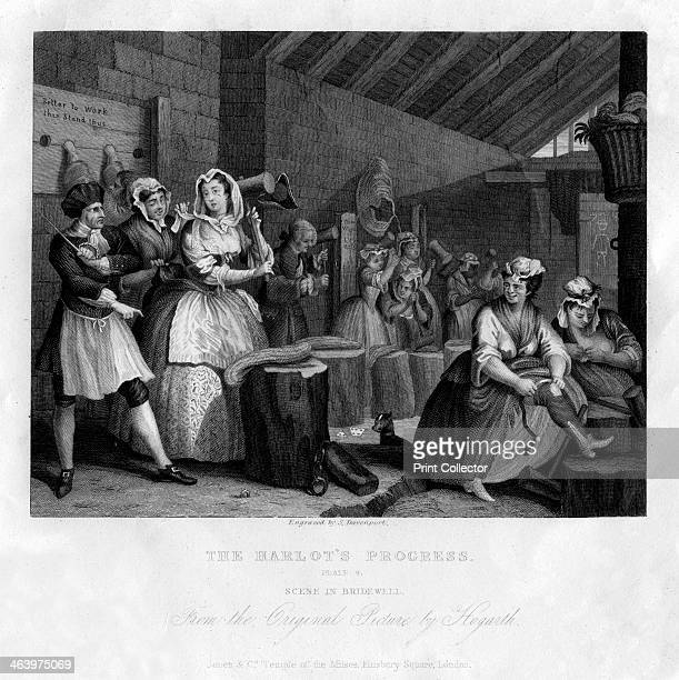 'In Bridewell beating hemp' plate IV of 'The Harlot's Progress' 1833 Early 19th century version of a scene from Hogarth's serieds of 1732 the harlot...