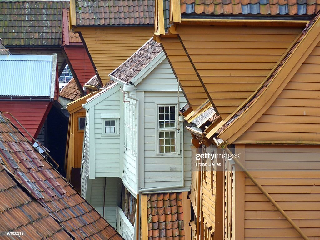 In Bryggen, the old part of Bergen : Stockfoto