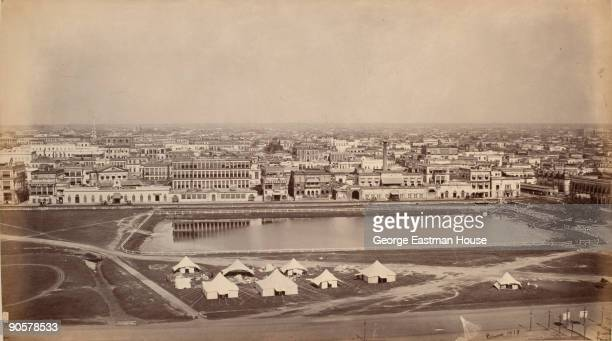 In Calcutta a panoramic view of the city taken from the Ochterlony Monument India ca 1865