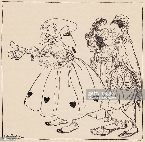 In Came The Three Women Dressed In The Stangest Fashion Illustration By Arthur Rackham From Grimm's Fairy Tale The Three Spinning Women