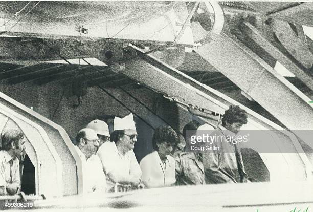 In Canada Crewmen of the Canadian fisheries patrol ship Leonard J Cowley watch as Tamil refugees from Sri Lanka leave the vessel in St John's Nfld...