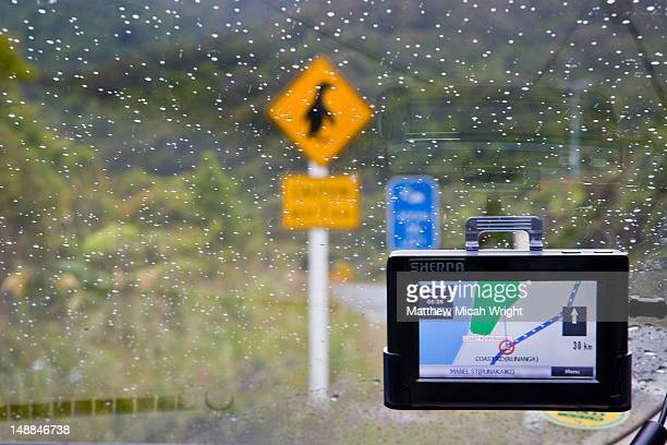 GPS in car on rainy day.