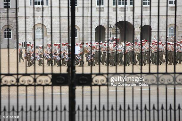 In celebration of the forthcoming Diamond Jubilee the Royal Band practice on the parade ground London 1 June 2012 Image by �� Paul Cunningham/Corbis